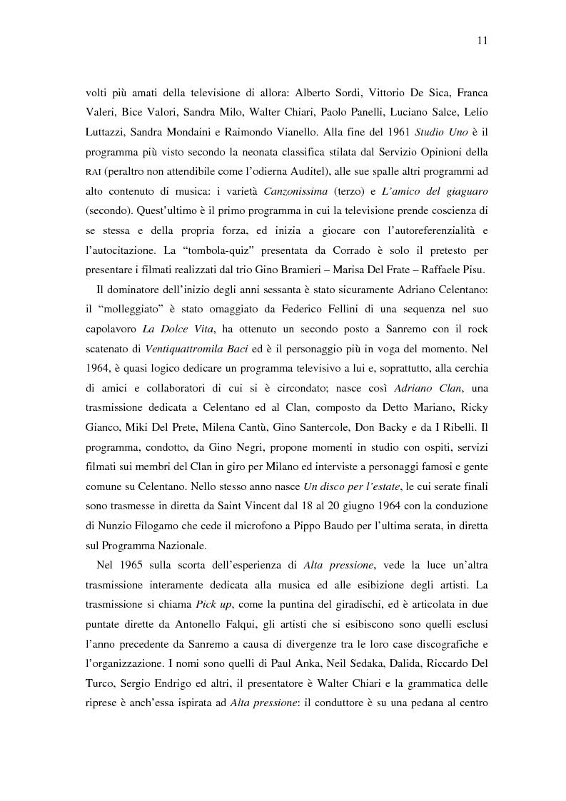 Anteprima della tesi: Il ruolo della televisione nella produzione e diffusione di musica in Italia, Pagina 11