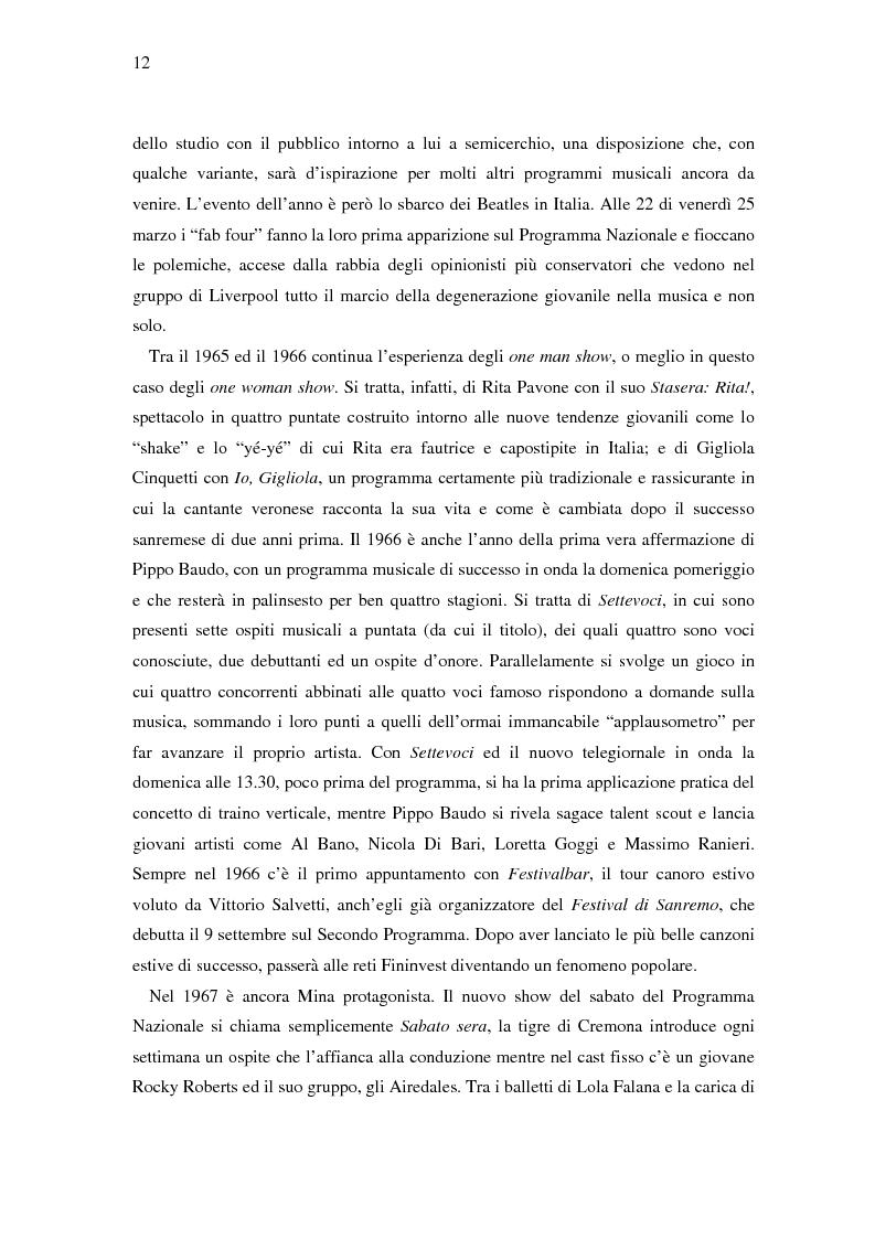 Anteprima della tesi: Il ruolo della televisione nella produzione e diffusione di musica in Italia, Pagina 12