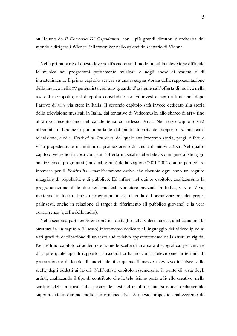 Anteprima della tesi: Il ruolo della televisione nella produzione e diffusione di musica in Italia, Pagina 5