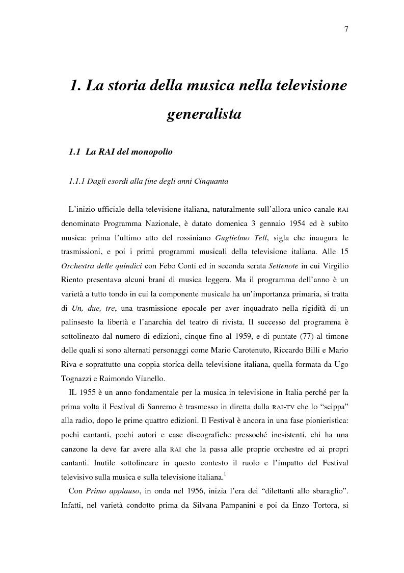 Anteprima della tesi: Il ruolo della televisione nella produzione e diffusione di musica in Italia, Pagina 7