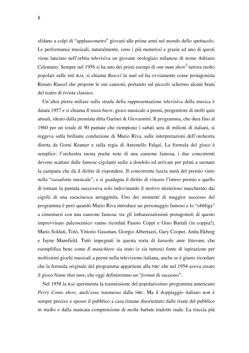 Anteprima della tesi: Il ruolo della televisione nella produzione e diffusione di musica in Italia, Pagina 8