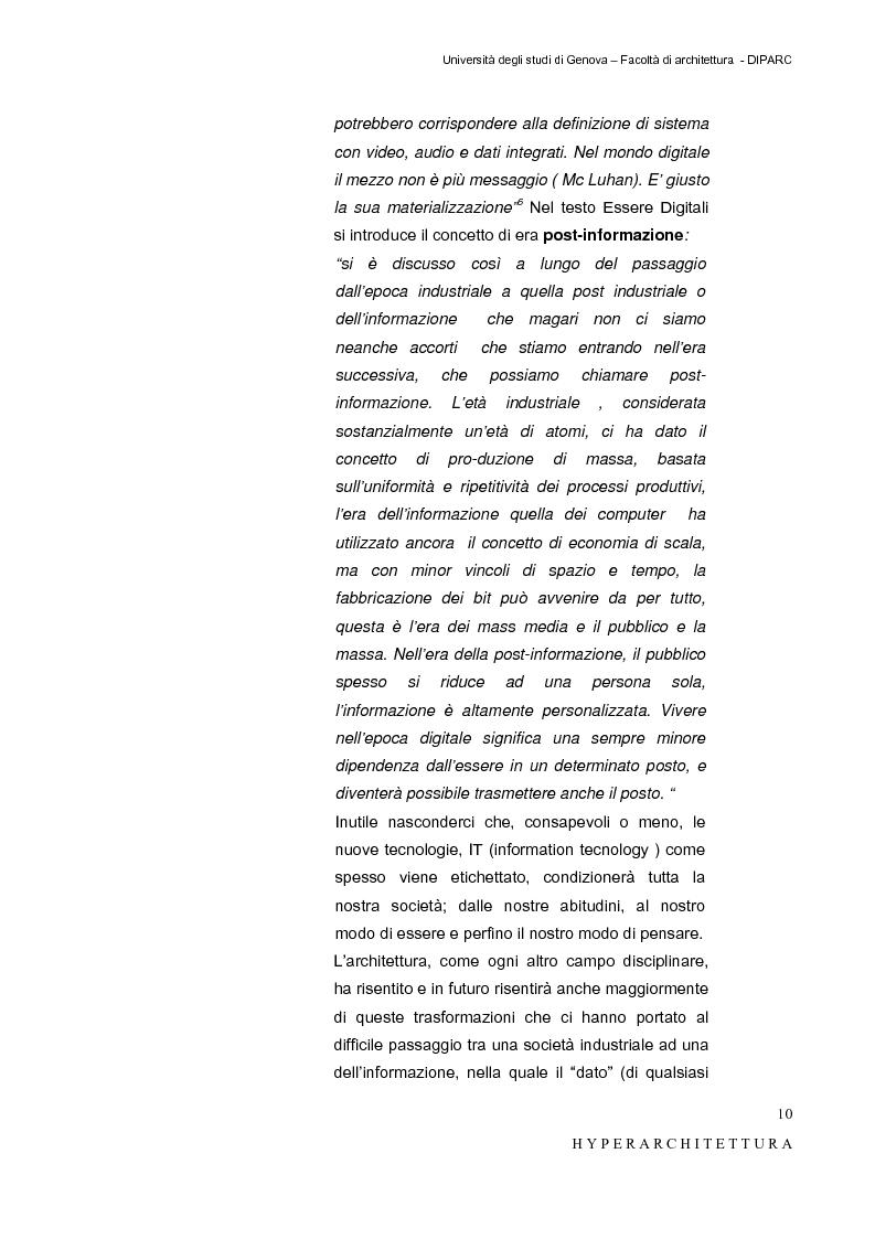 Anteprima della tesi: Hyper_Architettura - Spazi nell'età dell'elettronica e dell'informazione. Sovrapposizioni, intrecci, contaminazioni tra reale e virtuale. Un iperpaesaggio alla Fiera di Genova, Pagina 10