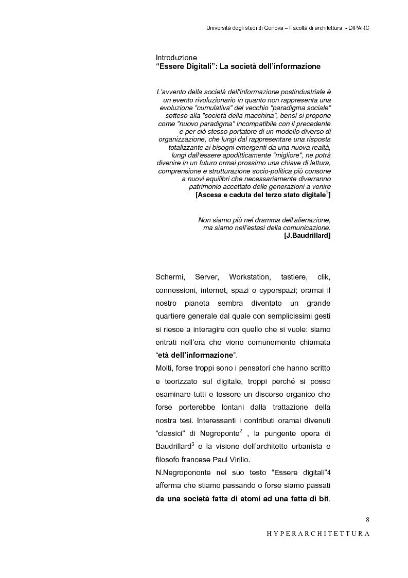 Anteprima della tesi: Hyper_Architettura - Spazi nell'età dell'elettronica e dell'informazione. Sovrapposizioni, intrecci, contaminazioni tra reale e virtuale. Un iperpaesaggio alla Fiera di Genova, Pagina 8