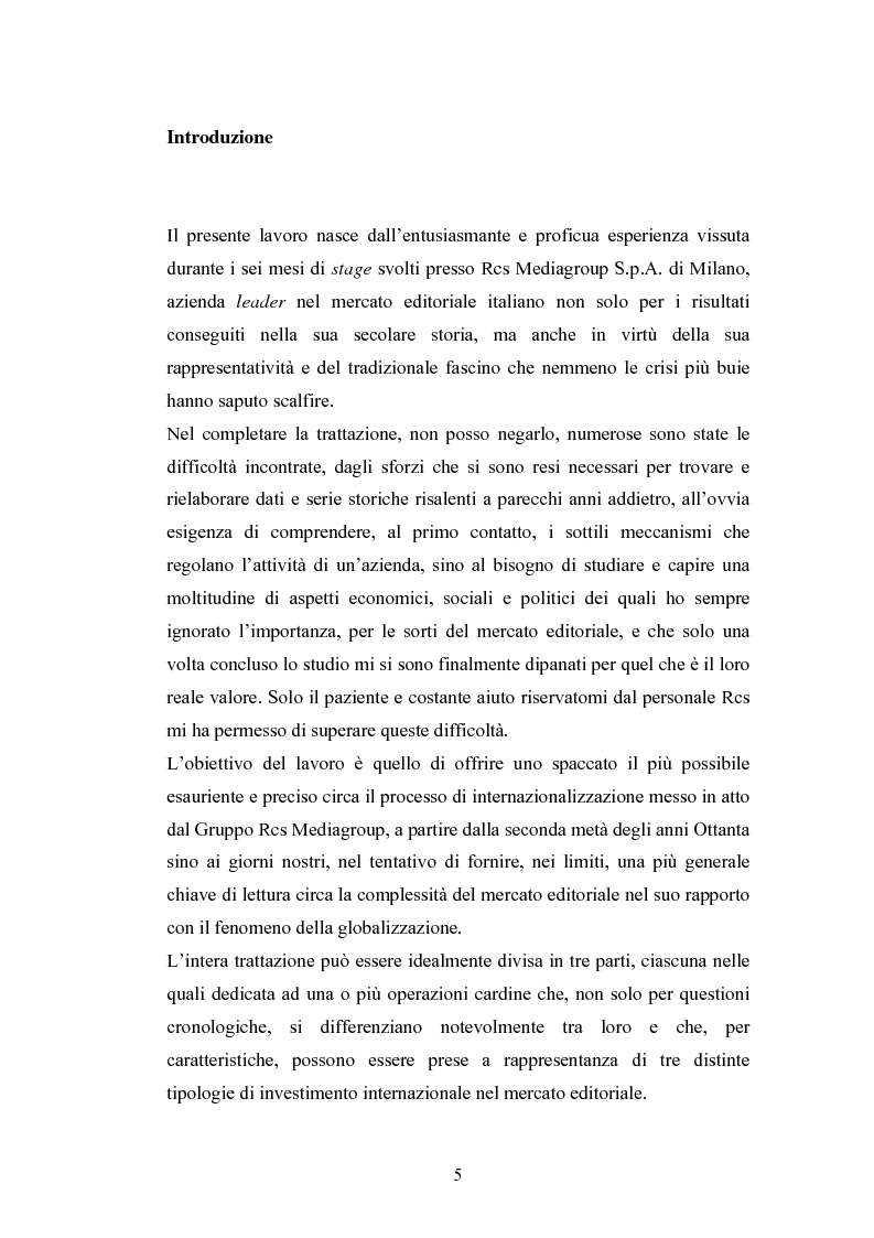 Anteprima della tesi: Il processo di internazionalizzazione di un'azienda leader nel mercato editoriale italiano: il caso Rcs MediaGroup, Pagina 1