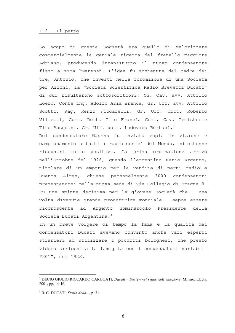 Anteprima della tesi: Storia della Ducati: da ''Società Scientifica Radio Brevetti Ducati'' a ''Ducati Motor Holding'', Pagina 4