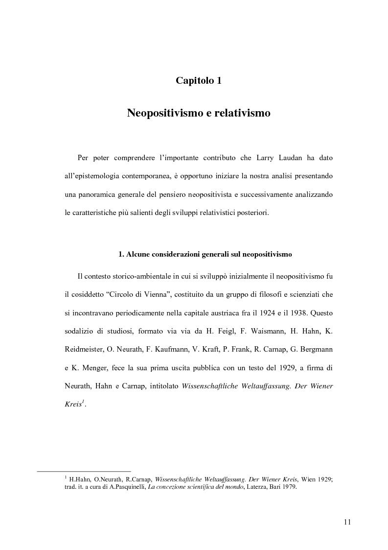 Anteprima della tesi: Oltre il neopositivismo e il relativismo: la proposta epistemologica di L. Laudan, Pagina 7