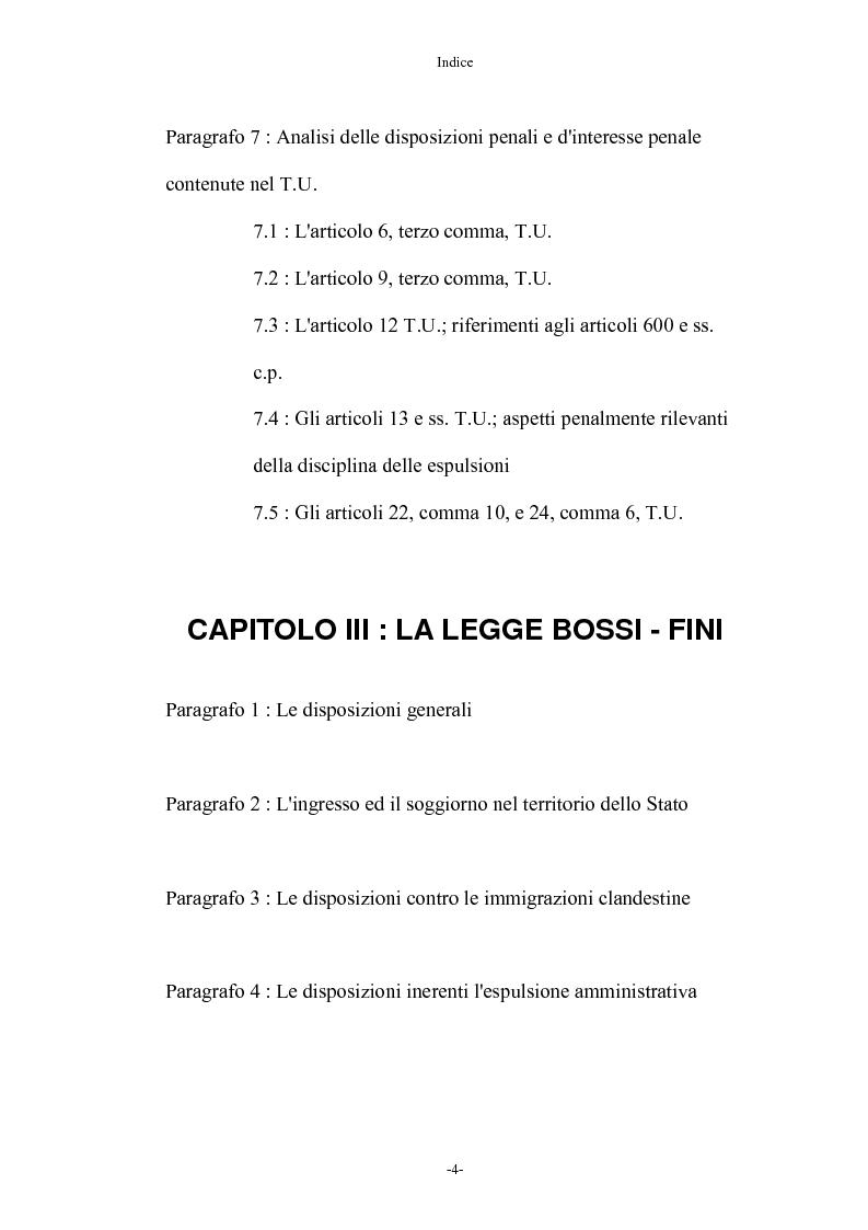 Indice della tesi: Diritto penale ed immigrazione: tra tecniche di tutela ed esigenze di riforma, Pagina 4