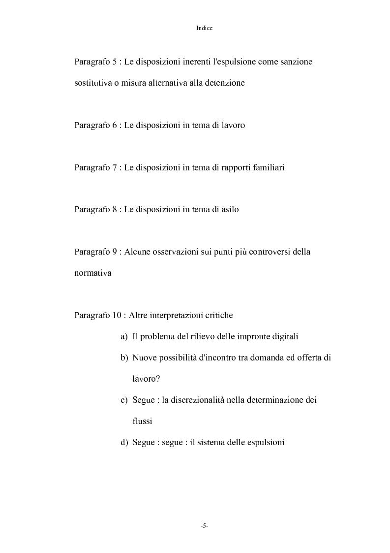 Indice della tesi: Diritto penale ed immigrazione: tra tecniche di tutela ed esigenze di riforma, Pagina 5