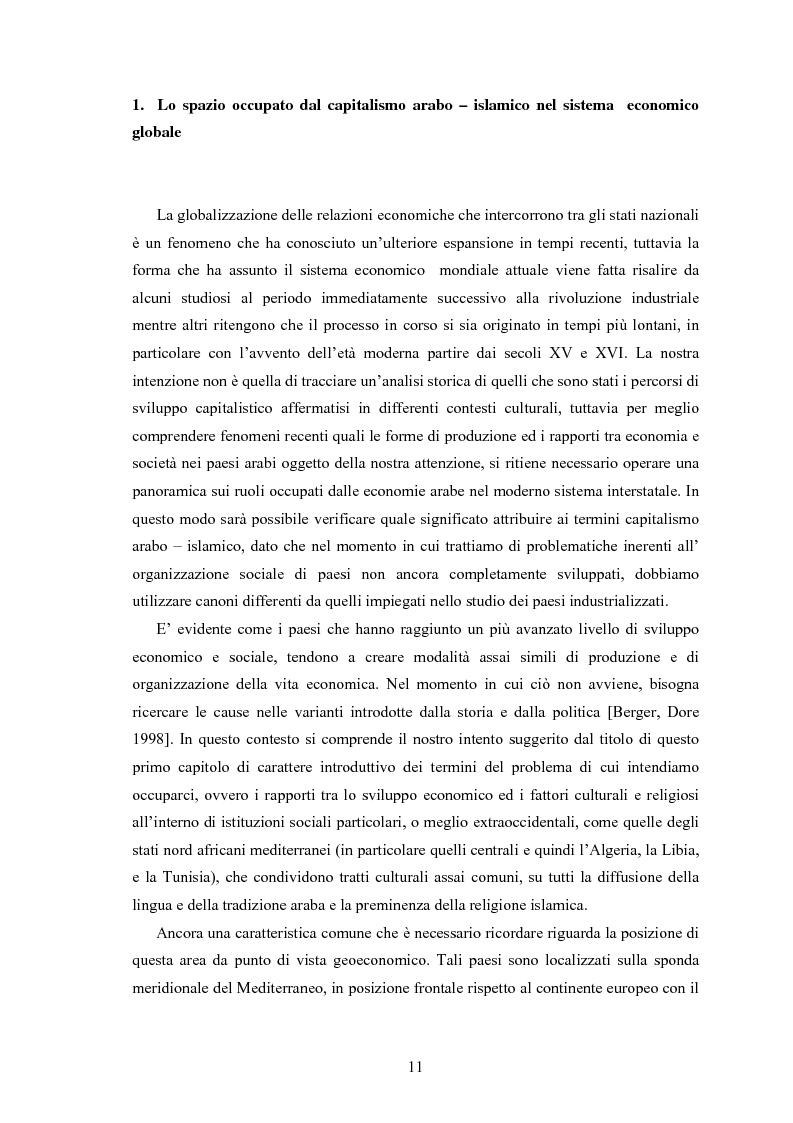 Anteprima della tesi: Capitalismo arabo/islamico. Possibilità di sviluppo economico in Algeria, Libia e Tunisia., Pagina 1