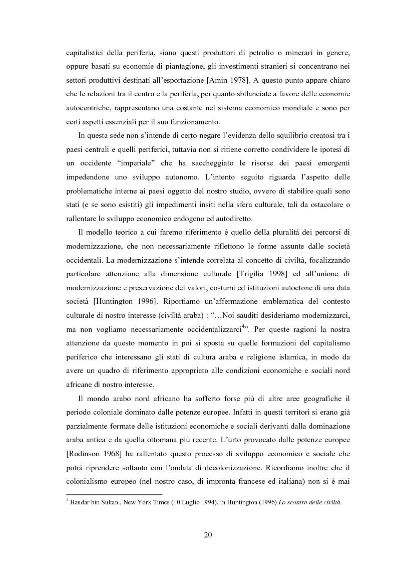 Anteprima della tesi: Capitalismo arabo/islamico. Possibilità di sviluppo economico in Algeria, Libia e Tunisia., Pagina 10