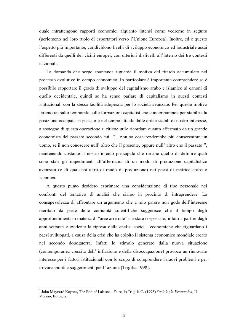 Anteprima della tesi: Capitalismo arabo/islamico. Possibilità di sviluppo economico in Algeria, Libia e Tunisia., Pagina 2