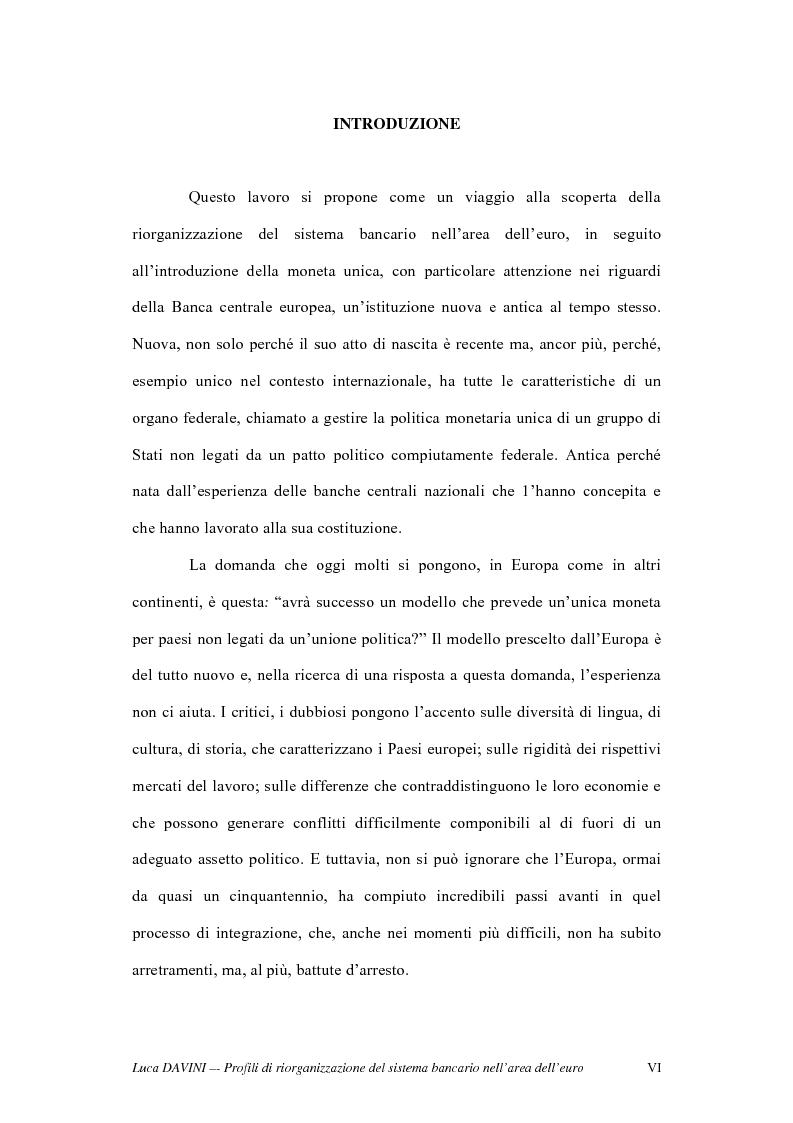 Anteprima della tesi: Profili di riorganizzazione del sistema bancario nell'area dell'euro, Pagina 1
