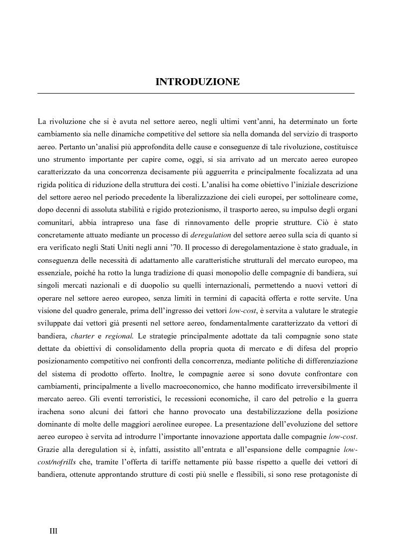 Anteprima della tesi: Strategie competitive nel settore aereo low-cost: casi a confronto, Pagina 1