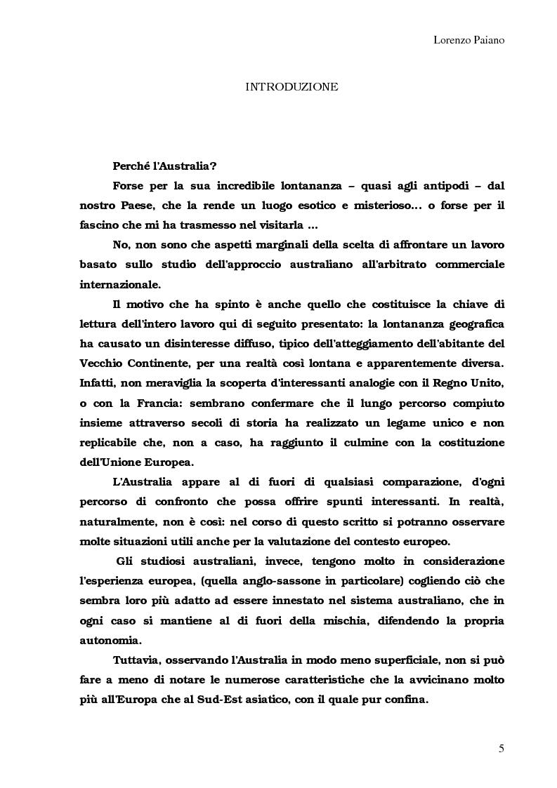 Anteprima della tesi: Arbitrato Internazionale Commerciale in Australia: problemi attuali, Pagina 1
