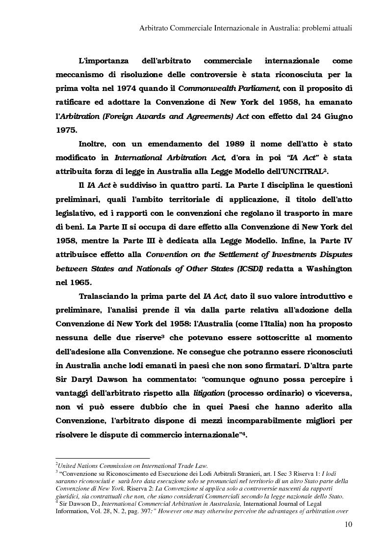 Anteprima della tesi: Arbitrato Internazionale Commerciale in Australia: problemi attuali, Pagina 6