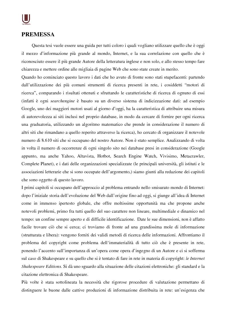 Valutazione delle risorse internet: il caso di William Shakespeare - Tesi di Laurea