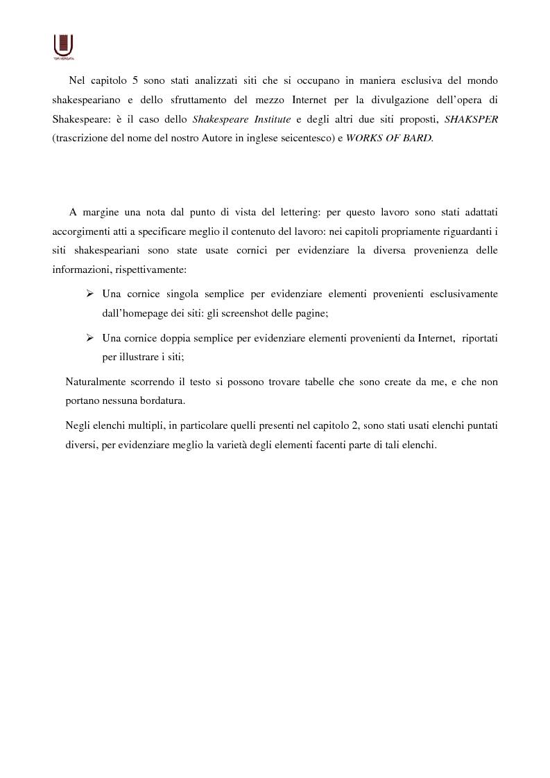 Anteprima della tesi: Valutazione delle risorse internet: il caso di William Shakespeare, Pagina 3