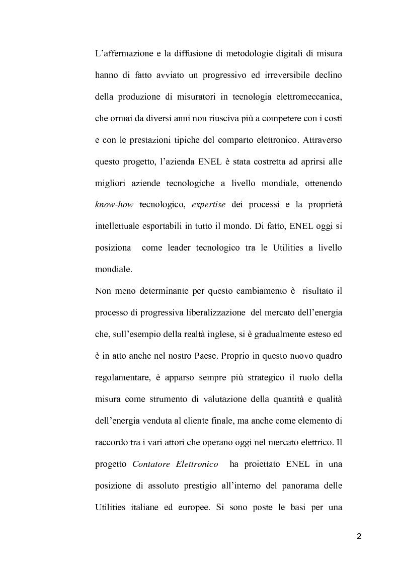Anteprima della tesi: Definizione e sviluppo di servizi a valore aggiunto: il progetto Contatore Elettronico di Enel Distribuzione, Pagina 2