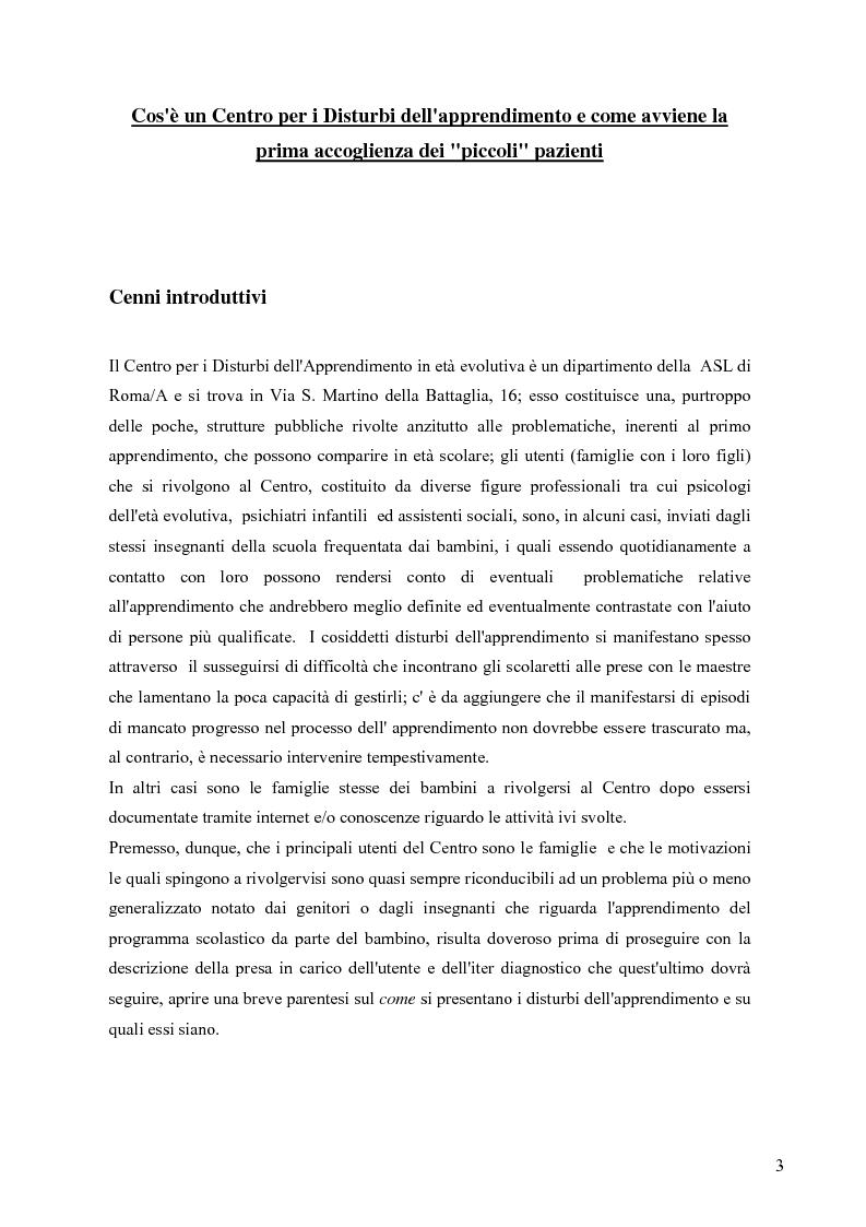 Anteprima della tesi: Esperienza di tirocinio: iter diagnostico seguito nella valutazione del disturbo dell'apprendimento, Pagina 1
