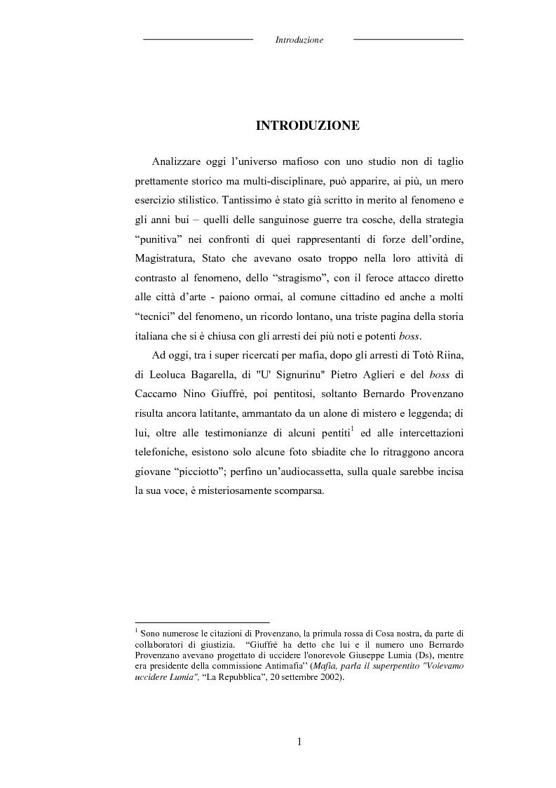 Anteprima della tesi: L'universo mafioso in Italia dal secondo dopoguerra ad oggi, Pagina 1