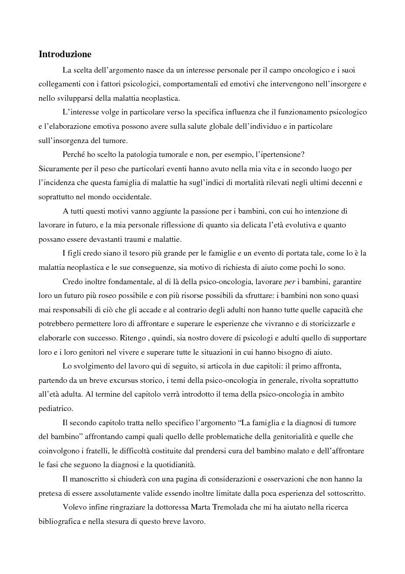 Anteprima della tesi: La famiglia e la diagnosi di tumore del bambino, Pagina 1