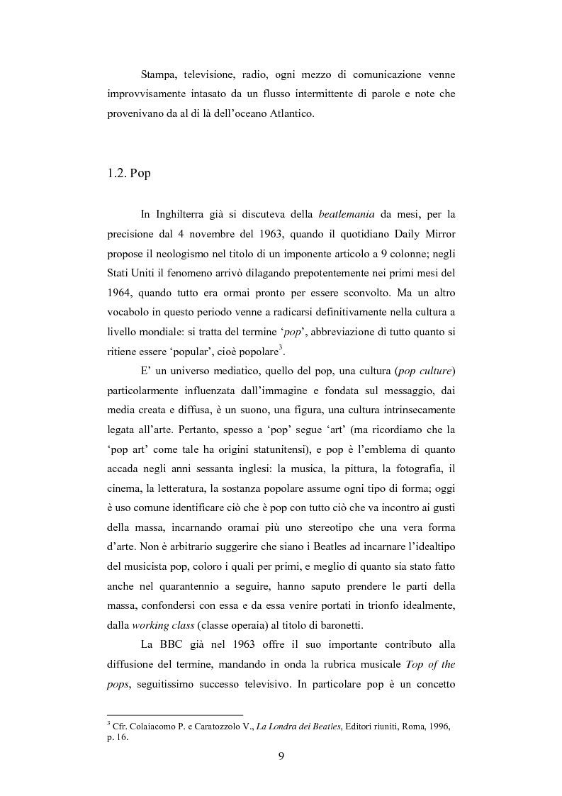 Anteprima della tesi: Il rapporto sinergico fra media e spettacolo: il caso esemplare dei Beatles nell'Inghilterra degli anni Sessanta, Pagina 7