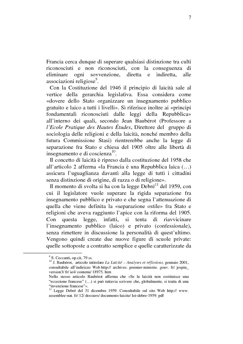 Anteprima della tesi: Profili comparatistici della disciplina del velo islamico, con particolare riferimento al caso francese, Pagina 5