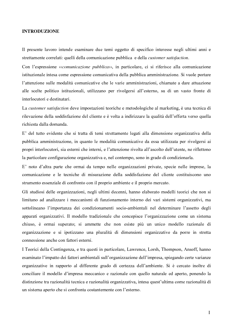 Anteprima della tesi: Comunicazione pubblica e customer satisfaction. Il caso dello Sportello del Cittadino di Spoleto, Pagina 1