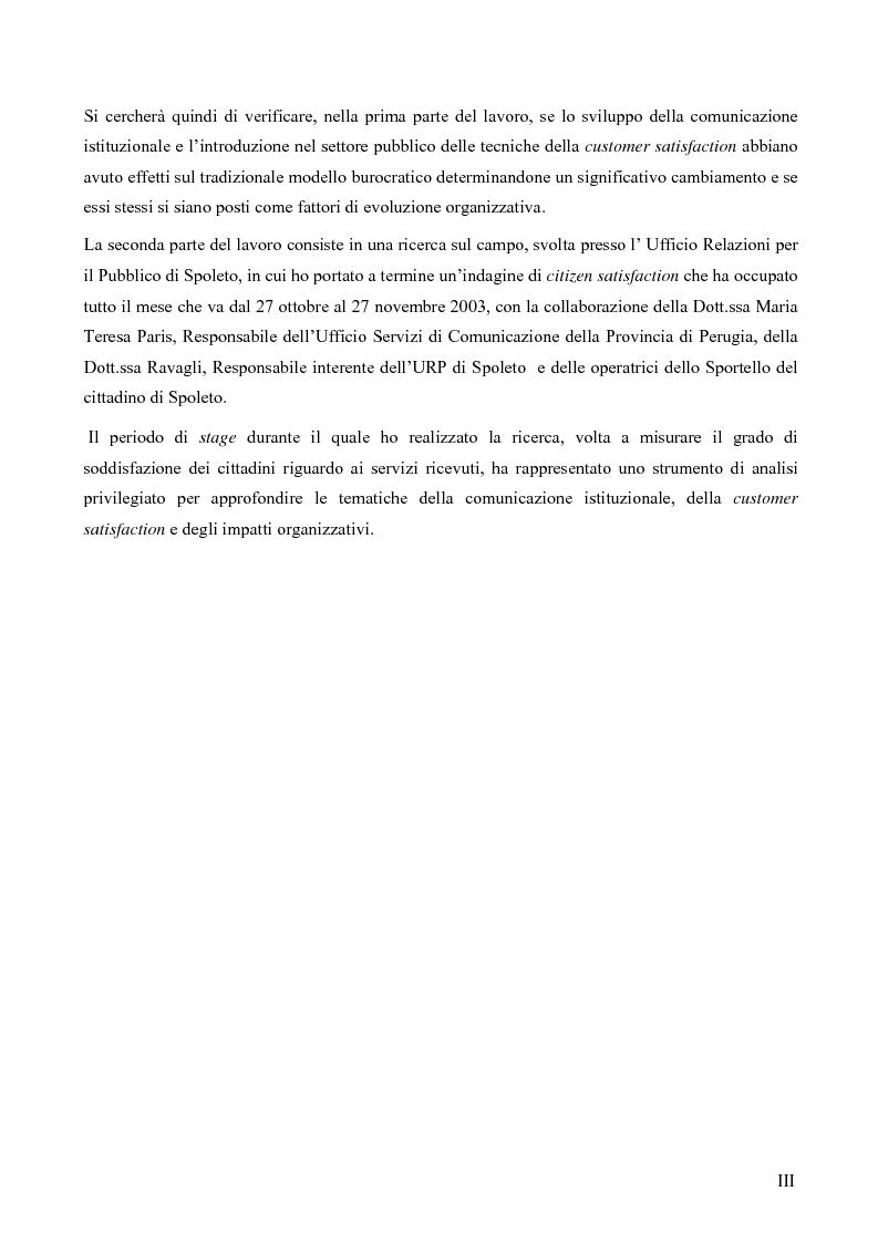 Anteprima della tesi: Comunicazione pubblica e customer satisfaction. Il caso dello Sportello del Cittadino di Spoleto, Pagina 3