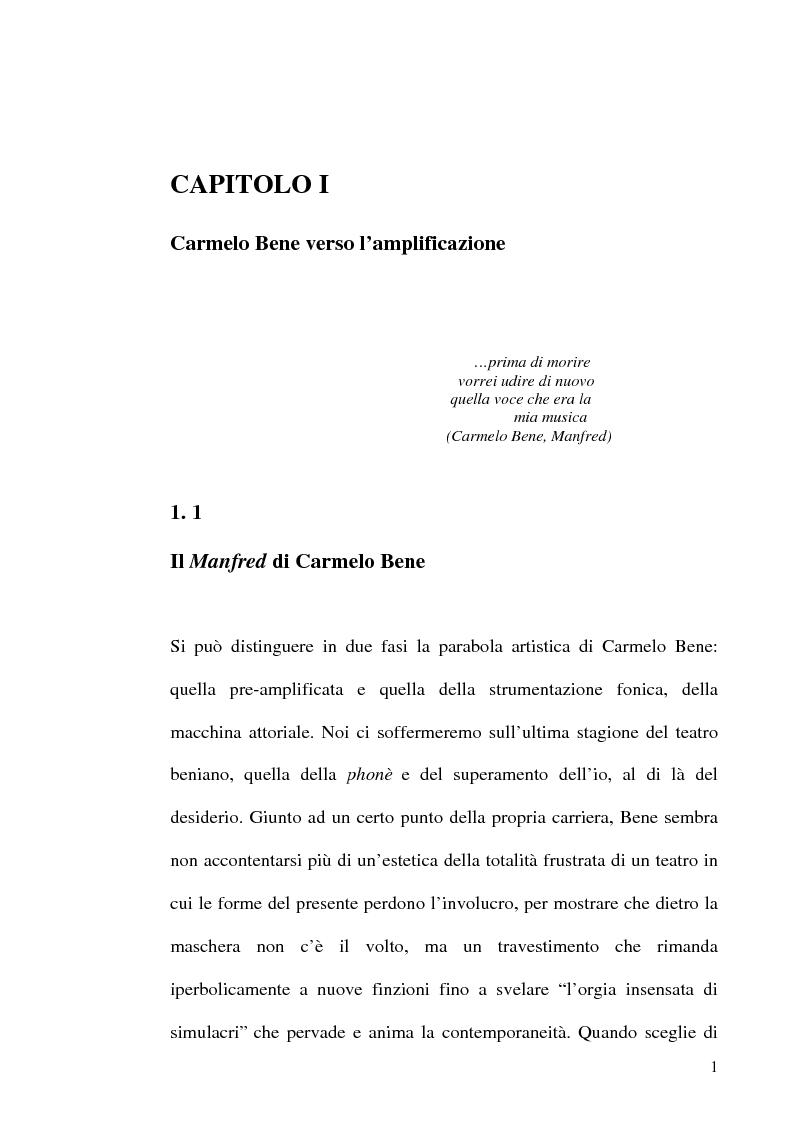 Anteprima della tesi: Il ritmo del ''farsi dire'' in Carmelo Bene, Pagina 1