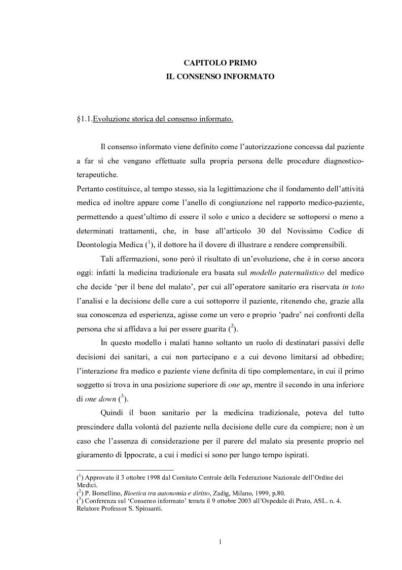 Anteprima della tesi: Il consenso informato nelle ASL della Toscana, Pagina 1