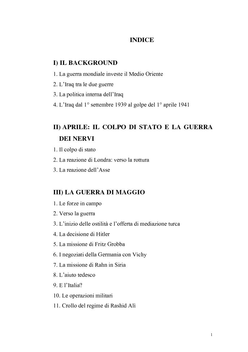 Indice della tesi: La crisi irachena dell'aprile-maggio 1941 nella politica della Seconda Guerra Mondiale, Pagina 1