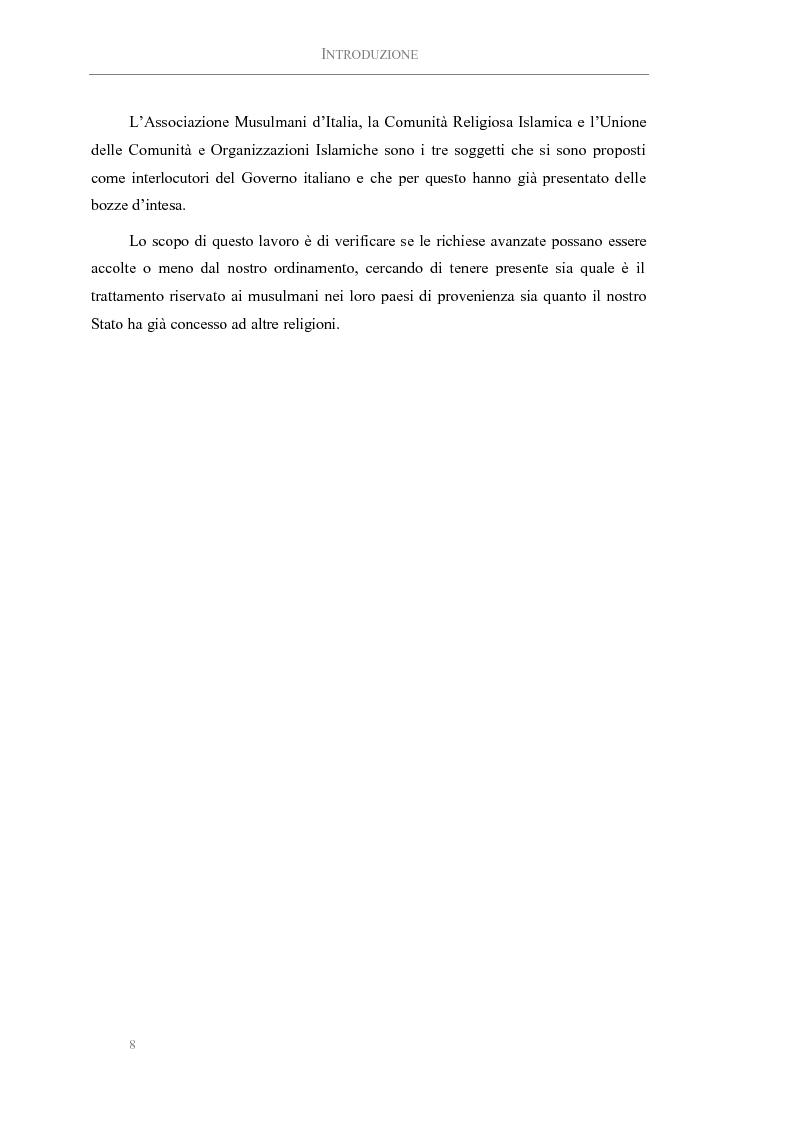Anteprima della tesi: L'Islam in Italia: Analisi delle possibilità di intesa tra Stato Italiano e comunità religiose, Pagina 2