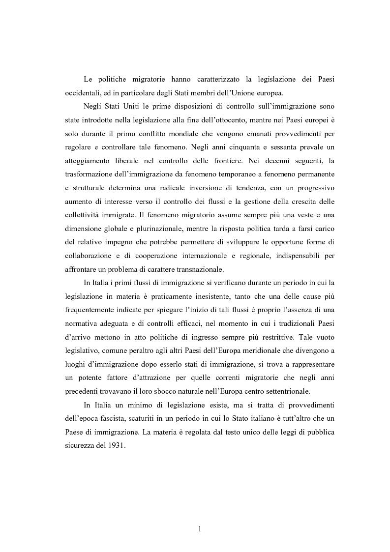 Anteprima della tesi: La disciplina dell'immigrazione in Italia nell'odierno contesto europeo, Pagina 1