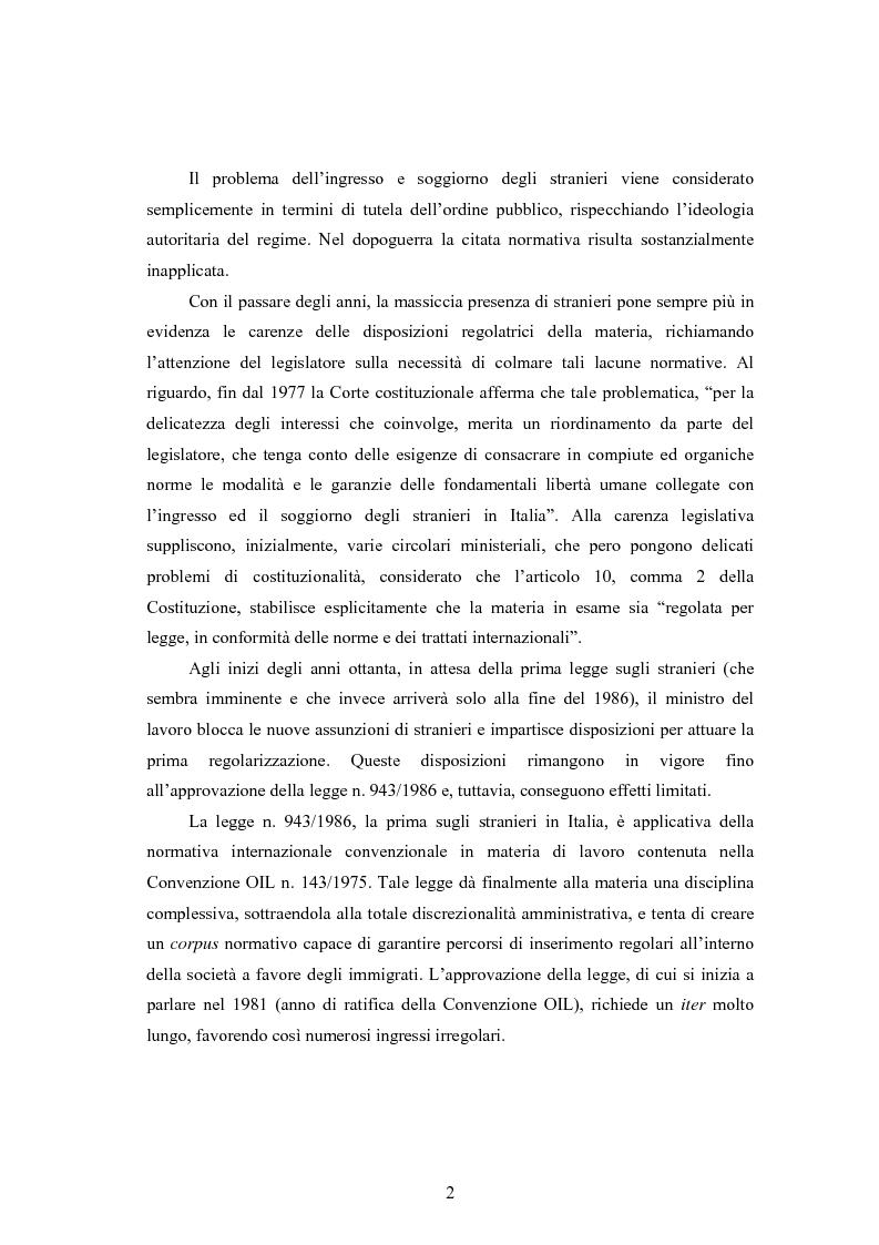 Anteprima della tesi: La disciplina dell'immigrazione in Italia nell'odierno contesto europeo, Pagina 2