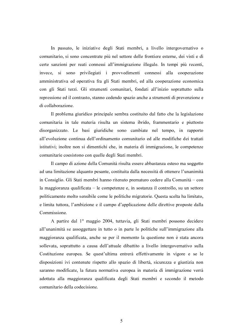 Anteprima della tesi: La disciplina dell'immigrazione in Italia nell'odierno contesto europeo, Pagina 5