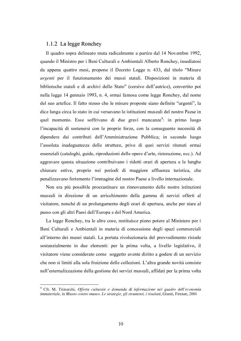 Anteprima della tesi: Forme gestionali e meccanismi istituzionali nella prestazione di servizi museali: l'esperienza di Palazzo Reale, Pagina 6