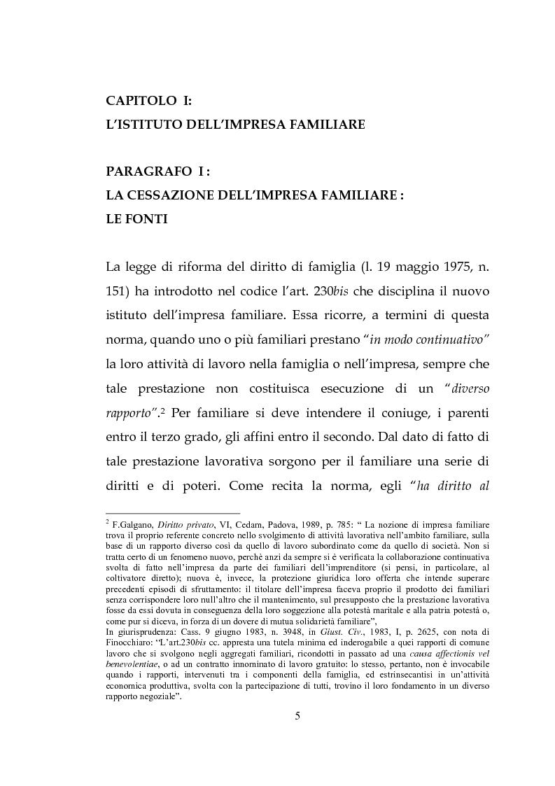 Anteprima della tesi: L'estinzione dell'impresa familiare, Pagina 5
