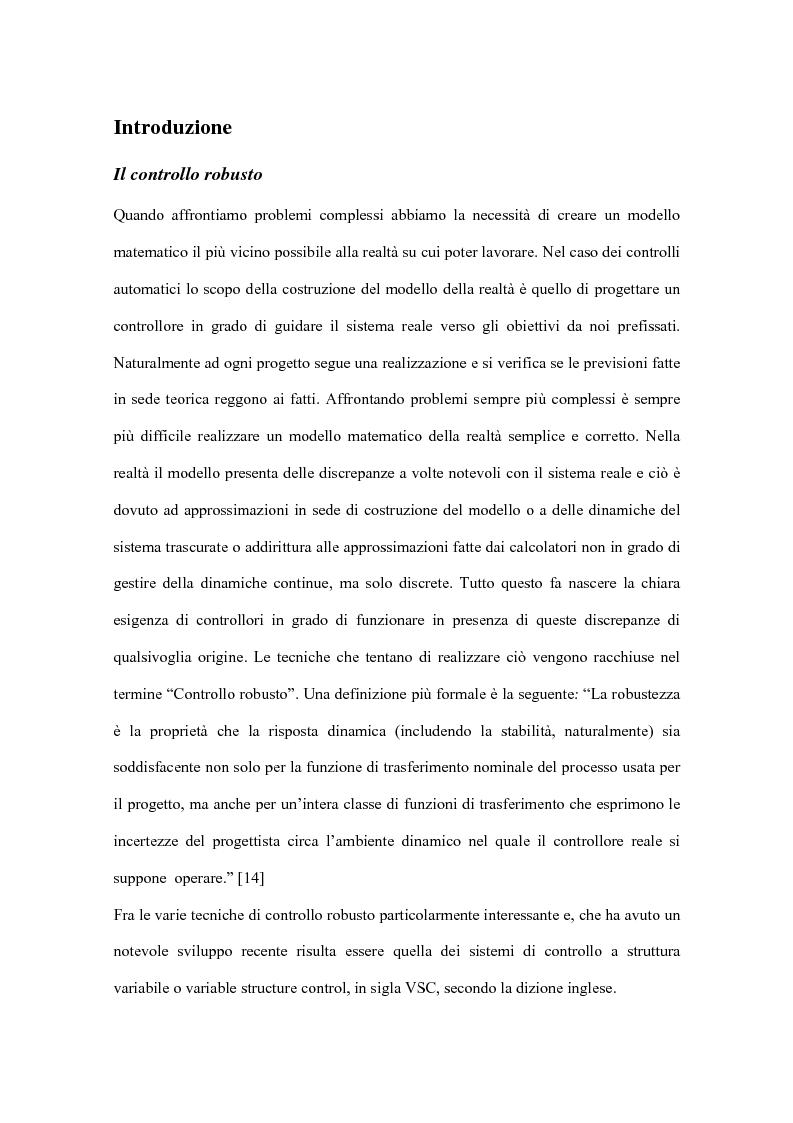 Anteprima della tesi: Controllo a commutazione con retroazione dall'uscita di processi incerti, Pagina 1