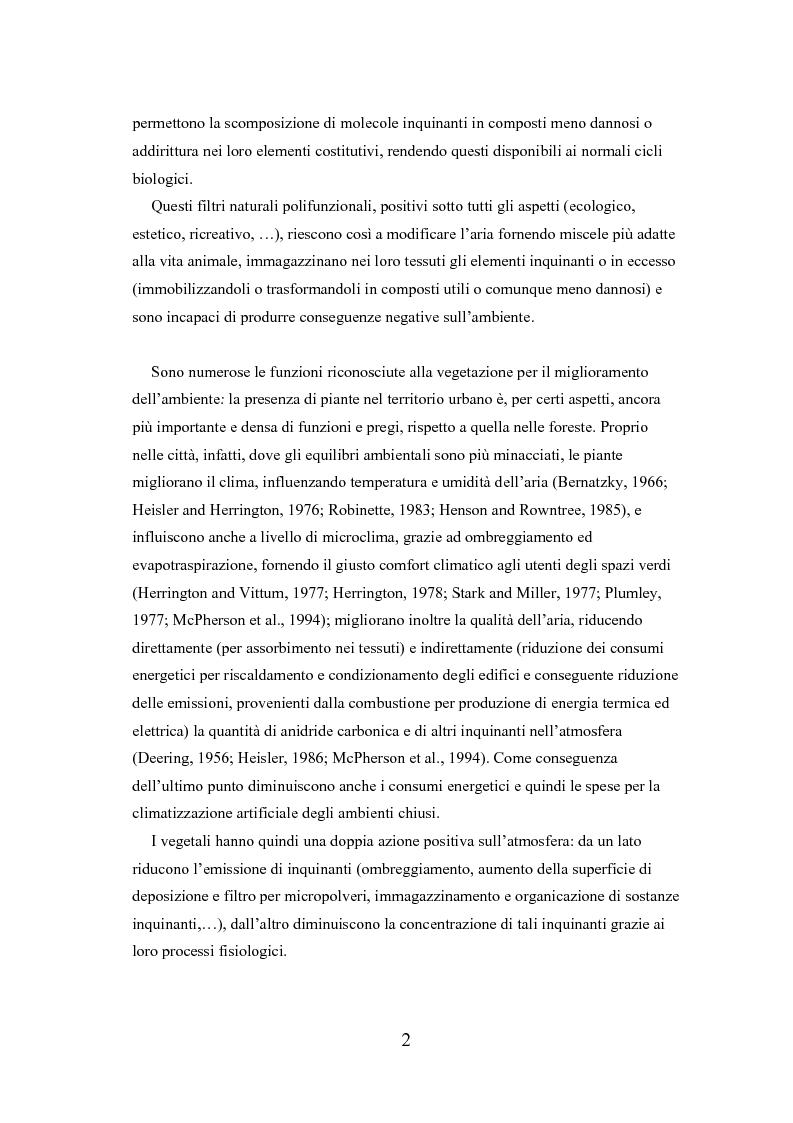 Anteprima della tesi: Analisi delle funzioni della vegetazione urbana. Un caso di studio: il Quartiere Savonarola a Padova, Pagina 2