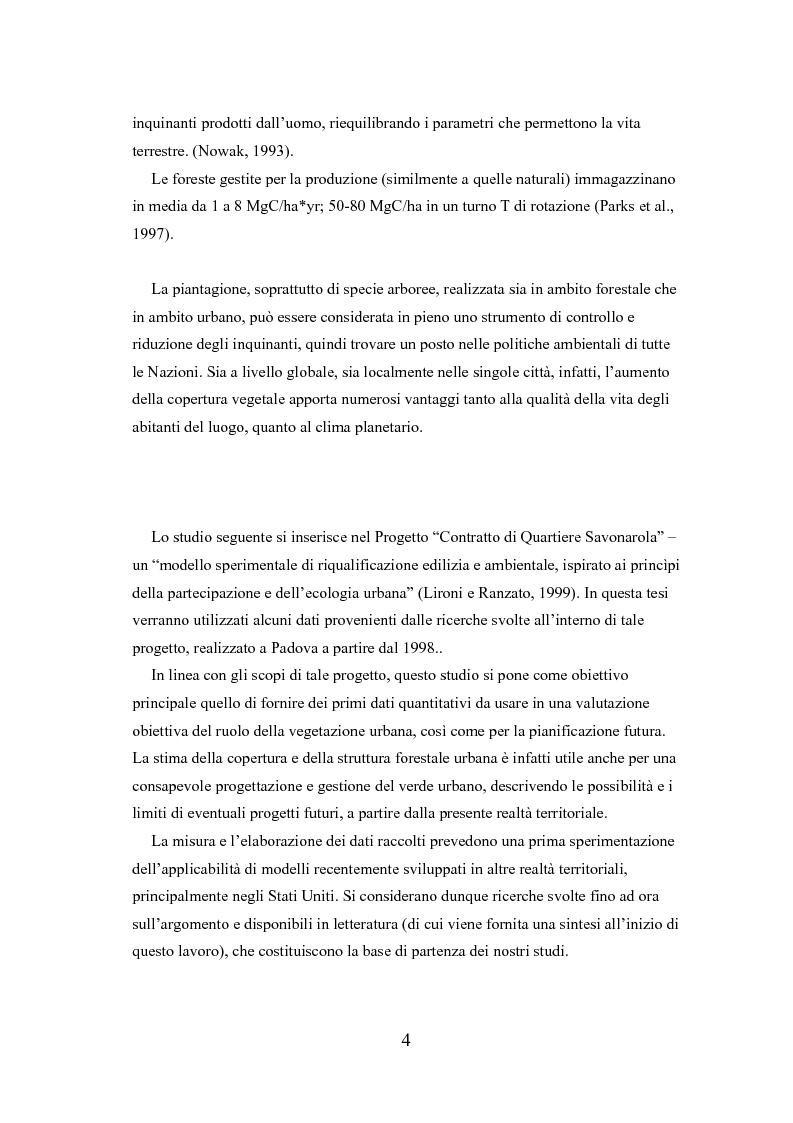 Anteprima della tesi: Analisi delle funzioni della vegetazione urbana. Un caso di studio: il Quartiere Savonarola a Padova, Pagina 4