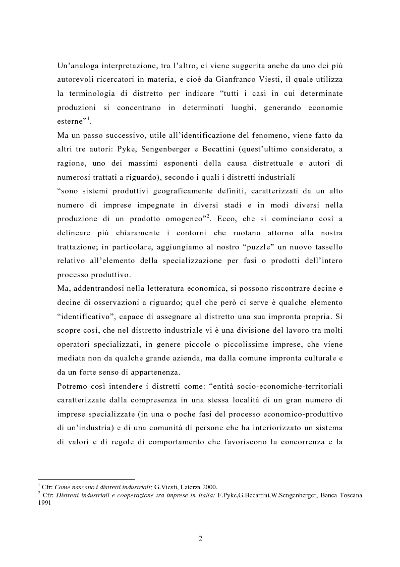 Anteprima della tesi: Il contributo dei distretti industriali nello sviluppo economico italiano. Il caso del distretto tessile di Prato, Pagina 5