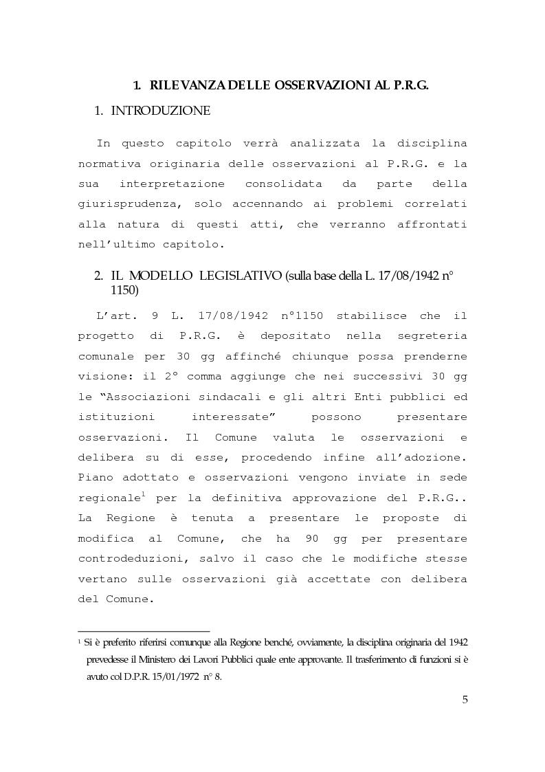 Anteprima della tesi: Piano regolatore generale, rilevanza delle osservazioni, impugnabilità, Pagina 3