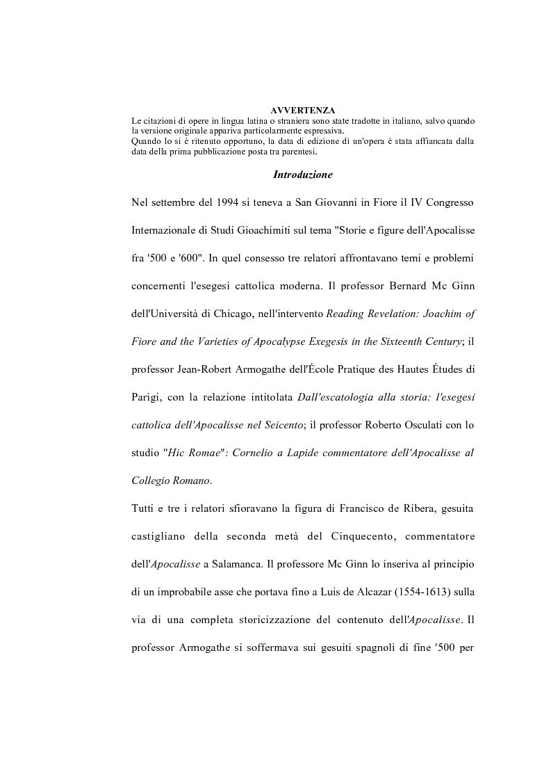 Anteprima della tesi: La verità della profezia. Francisco de Ribera (1537-1591) commentatore dell'Apocalisse a Salamanca, Pagina 1