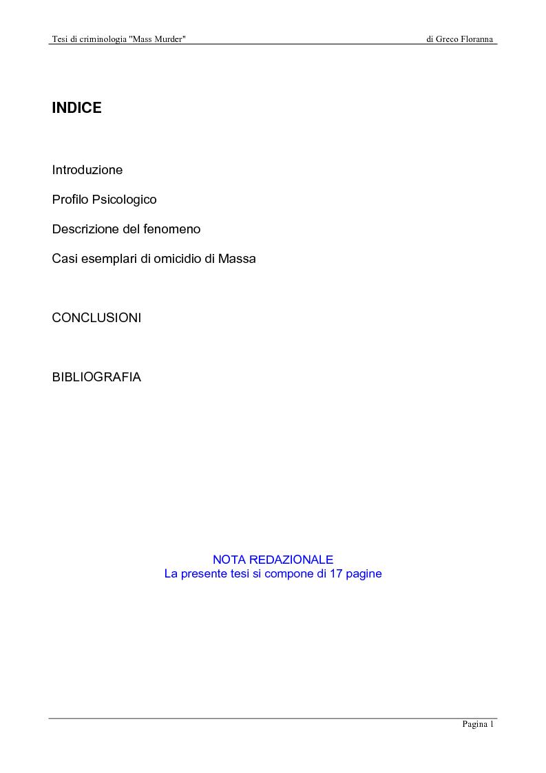 Indice della tesi: Mass Murder, Pagina 1