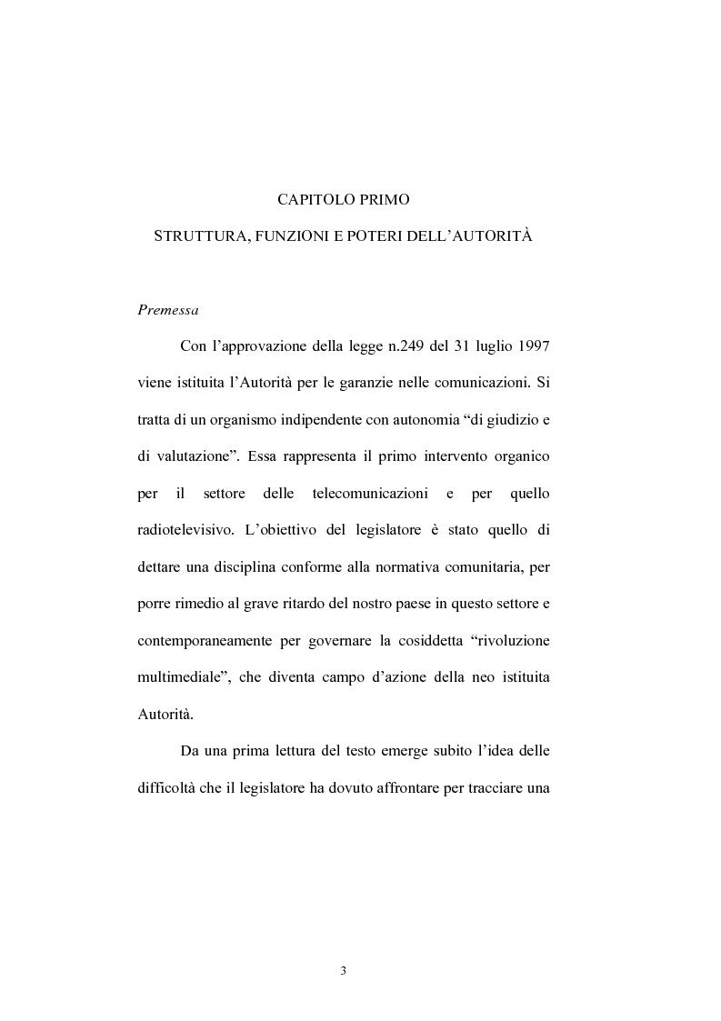 Anteprima della tesi: Le competenze dell'Autorità per le garanzie nelle comunicazioni in materia di accordi di interconnessione, Pagina 1