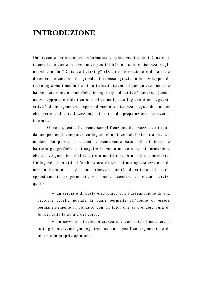 Anteprima della tesi: La formazione a distanza tramite Internet, Pagina 1