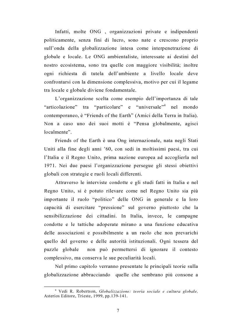 Anteprima della tesi: Il legame locale-globale: le Ong in Italia e nel Regno Unito, Pagina 4