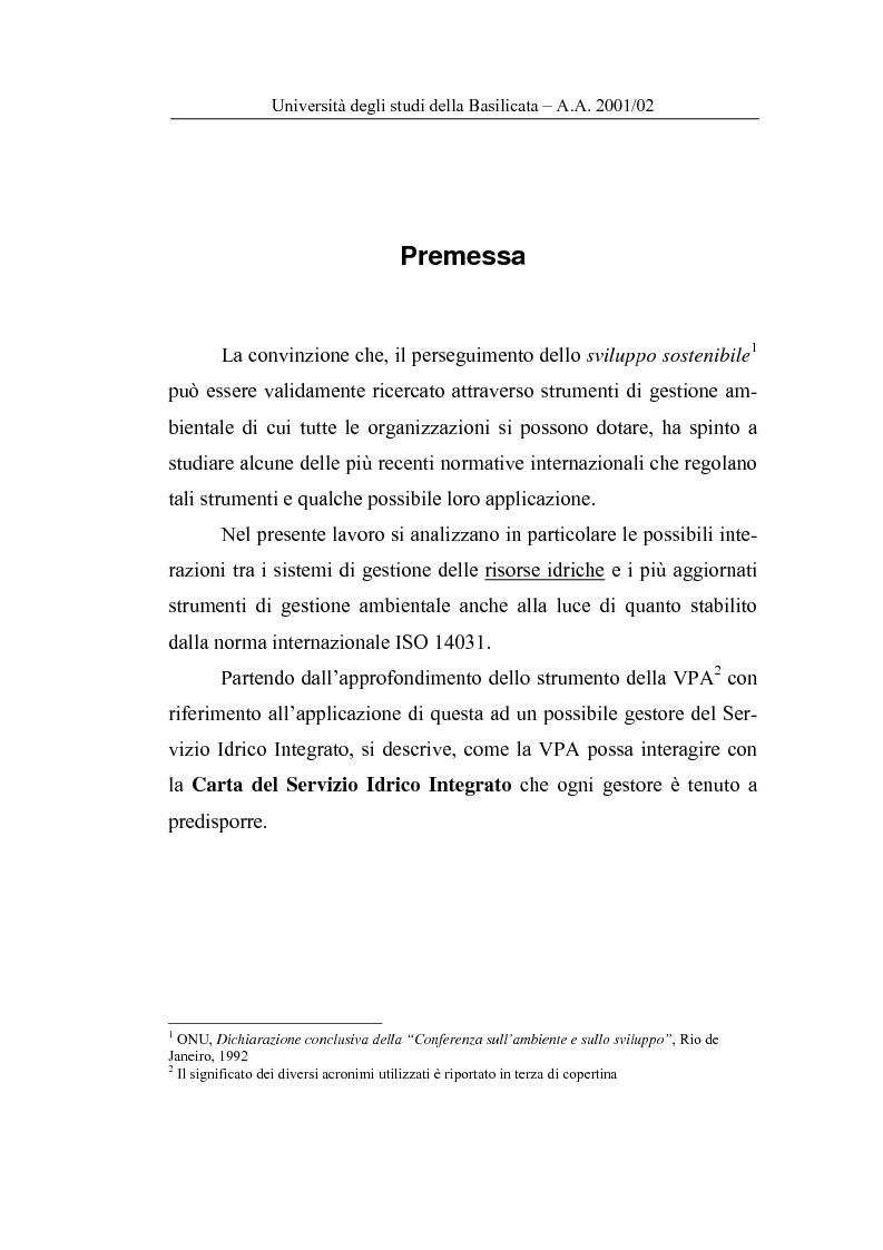Anteprima della tesi: La Carta del Servizio Idrico Integrato nel sistema di Valutazione della Prestazione Ambientale, Pagina 1