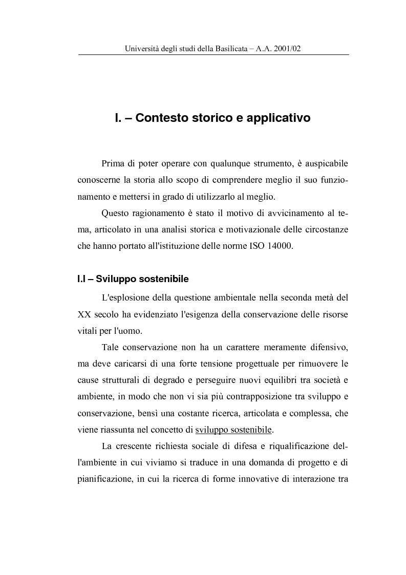 Anteprima della tesi: La Carta del Servizio Idrico Integrato nel sistema di Valutazione della Prestazione Ambientale, Pagina 2